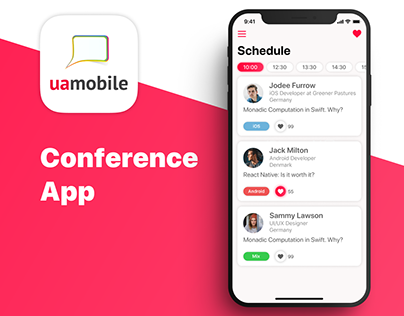 "Mobile app redesign for the ""UA Mobile 2019"" conference"