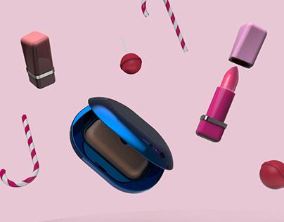 Colourful cosmetic range