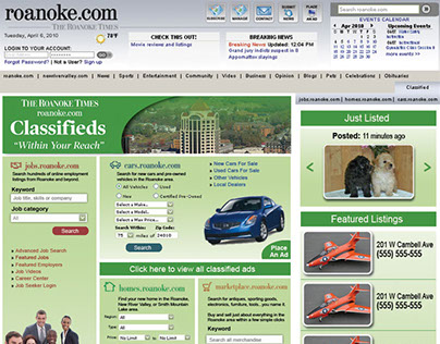 The Roanoke Times Classifieds proposed website redesign