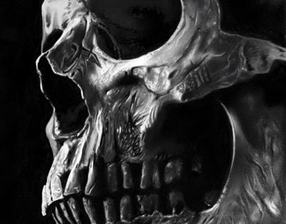 Realistic contrasting skull