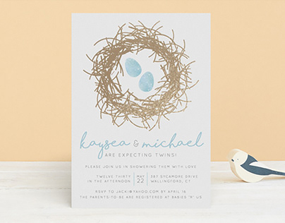 """Stationery: """"A Perfect Little Pair"""" Baby Shower Invite"""