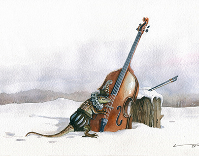 He found his first double bass in the snow ....