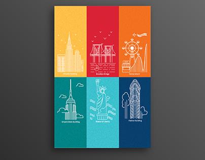 New York Has It All - Line Art Postcard