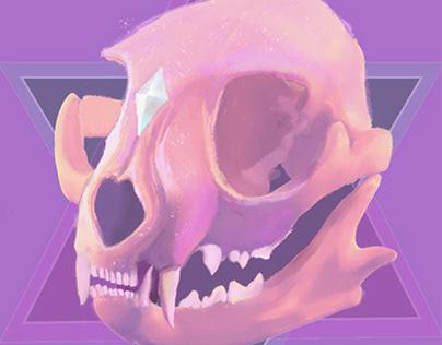 A cat's skull artwork.