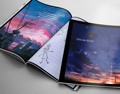 Dream Book design. Ilustrations downloaded from Pintere