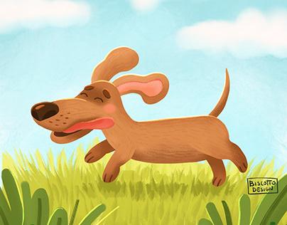 Cute summer dog illustration