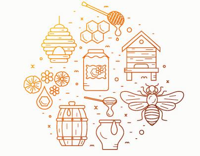 Honey product icon set.