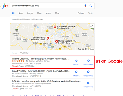 Affordable SEO Services India Thanks Creation9 Ranks #1