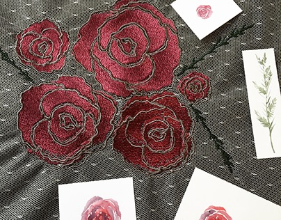 Digitally Embroidered Roses