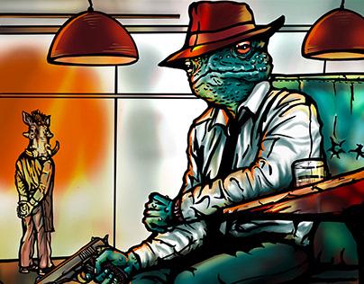 """Illustration """"Frog Dillinger"""""""
