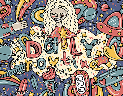 doodle art 'daily routine'