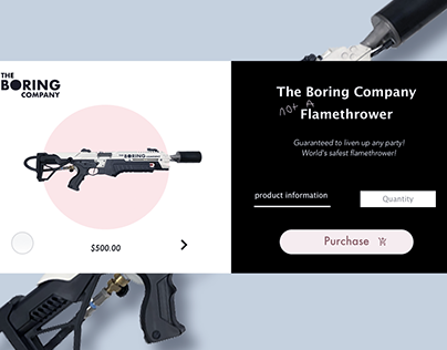 The Boring Company Product Page UI