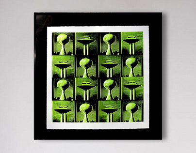 'Water Towers:Green' screenprint
