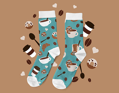 Coffee and Sloth socks design for Dedoles