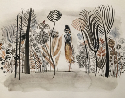 Watercolor illustrations, women and nature
