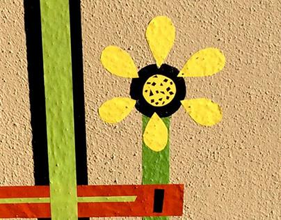 """Test Pattern Flowers"" Masking Tape Art"
