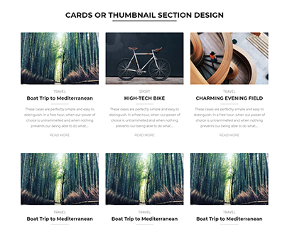 CARDS OR THUMBNAIL SECTION DESIGN