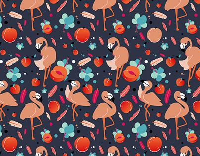 Flamingos and Peachs Pattern Designs