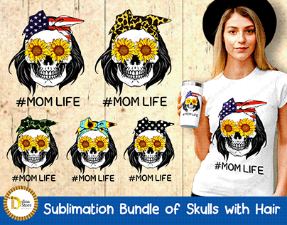 Sublimation Bundle of Skulls with Hair