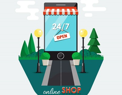 Online shopping , e-commerce concept.