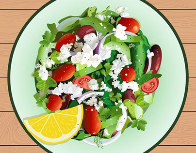 Greek salad. Top view. Vector art.