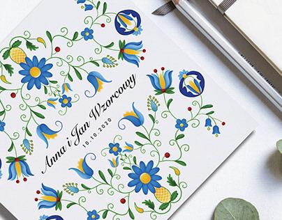 Kashubian wedding invitation design