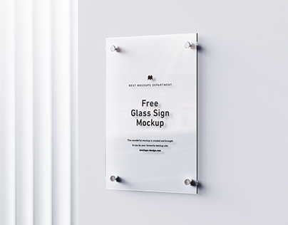 Free glass sign mockup