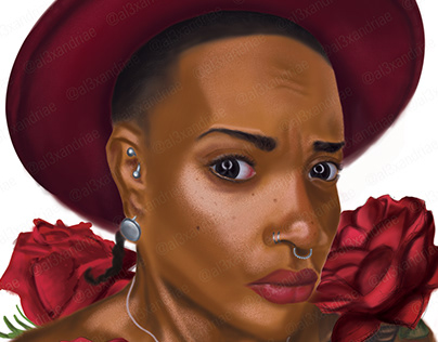 Portrait Illustration Red Hat
