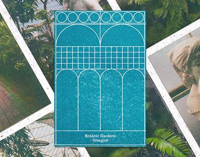 Risograph Postcards Botanic Gardens Glasgow