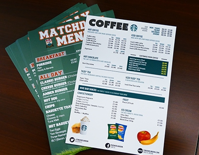 Matchday Menu design & print
