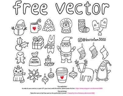 Free Sketch Christmas illustrations