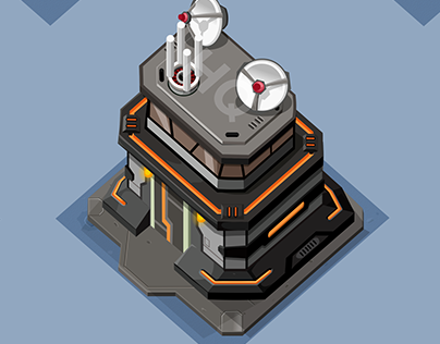 2D design of sci-fi game world objects