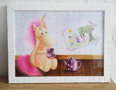 Unicorn drinking tea