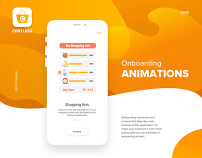 Onboarding Animations of Grocery Shopping App Costless