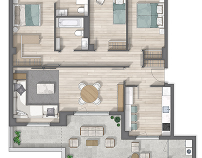 Floor plan 2D rendering in Vitoria Gasteiz