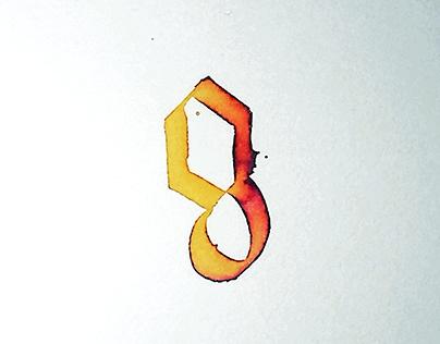 Letter g - watercolor