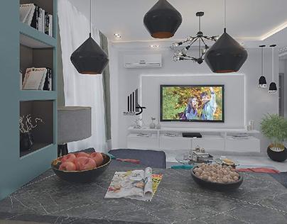 living&kitchen  max&vray &psd