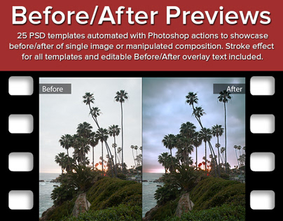 before after previews automated photoshop psd templates on behance