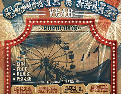 vintage county fair carnival flyer template on behance