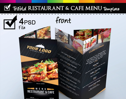 trifold restaurant cafe menu template on behance