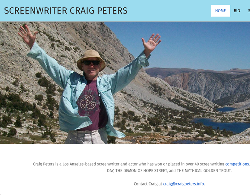 Craig Peters, Screenwriter, Website