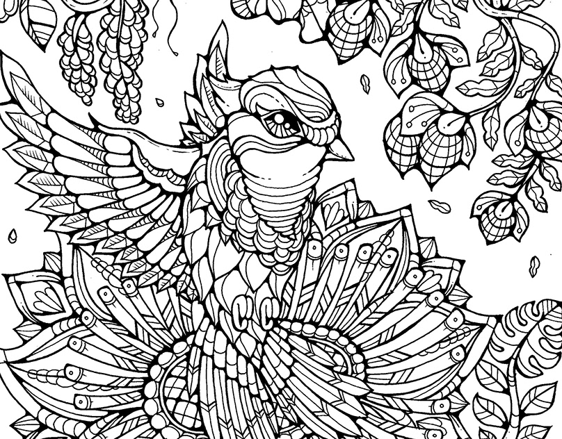 Complicated adult coloring pages for download