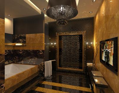 black and gold bathroom on behance