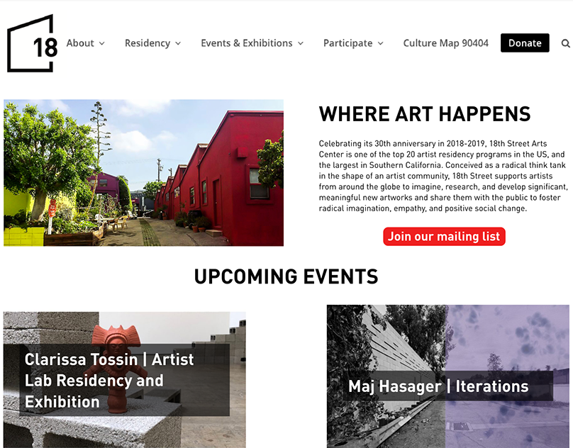 18th Street Arts Center Website Revision