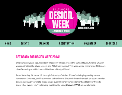 AIGA Baltimore Design Week Microsite, 2014