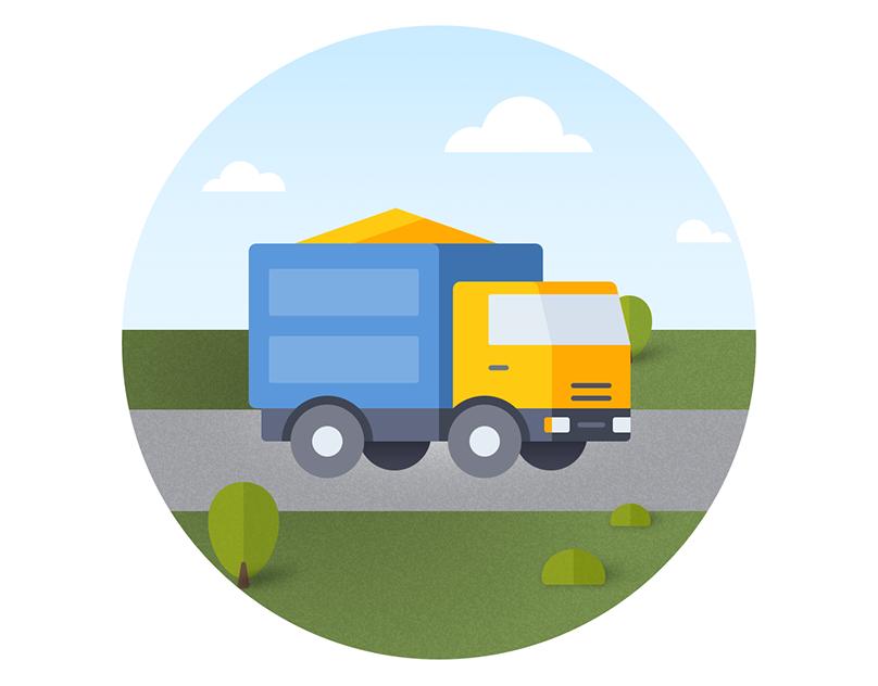 грузовые автомобили анимация архиве можно