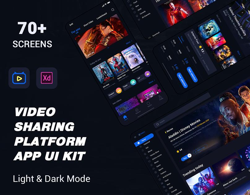 Video Sharing Platform App UI Kit Premium UI Kit For Adobe XD