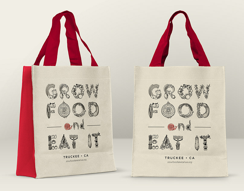 """""""Grow Food And Eat It"""" Grocery Bag Design"""