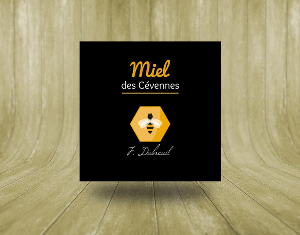logo, identité, étiquette, miel, Fabien, Dubreuil, abeille, graphiste, lozère, cévennes, julie mercey
