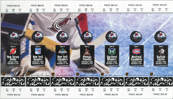 Colorado Avalanche season ticket design